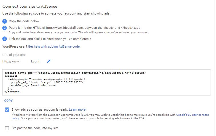 Create Adsense Account 4